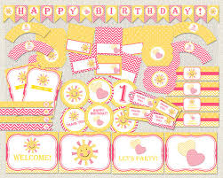 Pink And Yellow Birthday Decorations My Little Sunshine Birthday Pack Sunshine Pink Birthday Pack