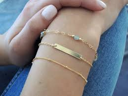 gold bracelet set images Delicate gold bracelet set gold filled or sterling silver 44612