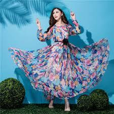 2017 new sale long sleeve plus size lightweight chiffon floral