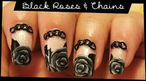 black roses u0026 chains nail art youtube