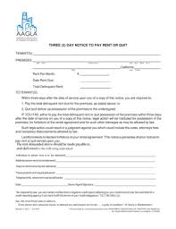 fillable online three 3 day notice to pay rent or quit aagla fax