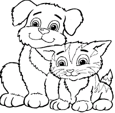 color dogs cats cute cat dog coloring pages printable cat