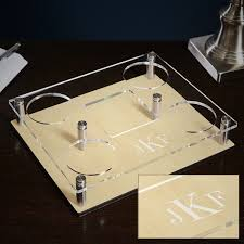 Monogrammed Bathroom Accessories by Classic Monogram Whiskey Decanter Tray With Glasses 6 Pc Set