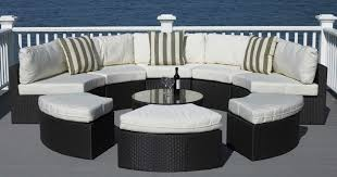 Modern Wicker Patio Furniture 7pc Outdoor Wicker Sectional Sofa Rattan Patio Furniture White