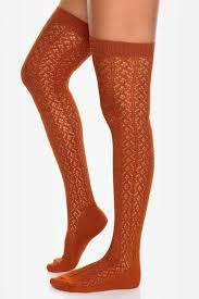 knee high socks burnt orange socks crocheted socks 19 00