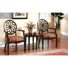 kf93034 3 piece set with 2 accent chairs and 1 table in walnut