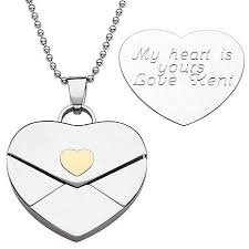 engraved pendant stainless steel engraved heart envelope pendant with 20 bead
