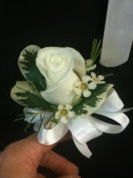 white wrist corsage single white wrist corsage add blue ribbon a better bloom