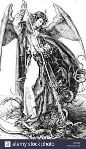 michael archangel of the christianity fighting with dragon