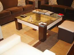 Glass And Wood Coffee Table by Furniture Modern Coffee Table With Four Wooden Stools Complete