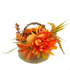 9 autumn harvest burlap pumpkin with flowers and fruit thanksgiving