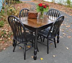 heir and space vintage oak and maple dining set in distressed black