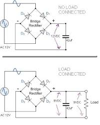 12v ac to 12vdc with bridge rectifier and capacitor