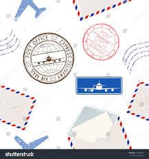 post elements seamless pattern postmarks envelopes stock vector