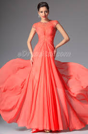 new coral high neck cap sleeves long evening dress prom ball gown