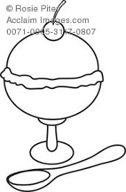 ice cream sundae with cherry on top coloring page royalty free