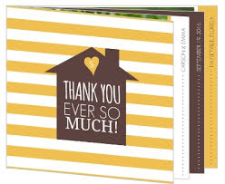 personalized thank you cards brown and yellow modern stripe housewarming thank you card
