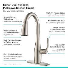 kraus kpf 1670sfs esina single handle pull down kitchen faucet