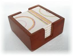 6 corelle square stoneware drink coaster set mahogany wood caddy