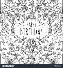 hand drawn birthday card design humming stock vector 440238550