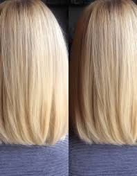 back view of long bob haircut blunt cut with subtle layers hair