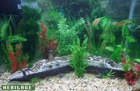 heritage aquarium fish tank titanic ship boat wreck handpainted