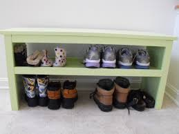 ana white super easy bench modified for shoe storage diy projects