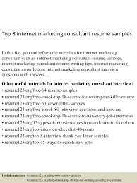 Consultant Resume Sample Top8internetmarketingconsultantresumesamples 150723081500 Lva1 App6891 Thumbnail 4 Jpg Cb U003d1437639342