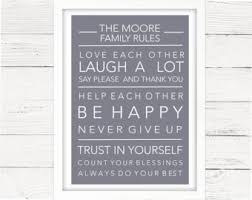 Personalised Home Decor House Rules Art Etsy