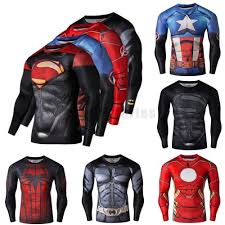 Mens Halloween Shirts by Superhero Marvel 3d Compression Sport T Shirt Gym Fitness Bicycle