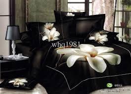 3d white orchid duvet covers queen king size black bedding set
