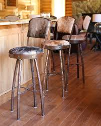 furniture rustic swivel bar stools with backs and cowhide
