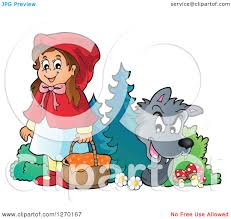 clipart of a big bad wolf watching little red riding hood from