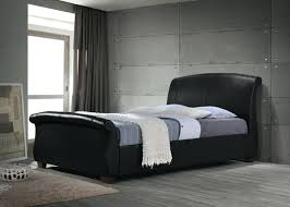 King Size Leather Sleigh Bed Sleigh Bed Frame Rogazoblack Rogazo Leather Sleigh Bed Frame 3