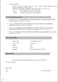 resume sample for i t i instrument mechanics from n c v t