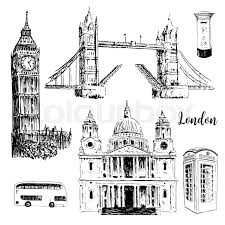 london architectural symbols big ben tower bridge bus mail box