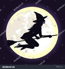 halloween flying witch background beautiful shining moon dark blue sky stock vector 483763303