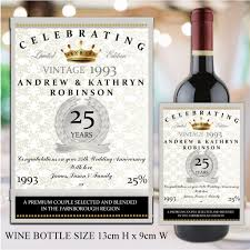 anniversary wine bottles personalised silver 25th wedding anniversary wine chagne bottle