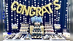 graduation party graduation party desserts blue white gold graduation buffet table