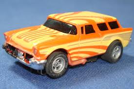 bright orange cars afx magna traction ho slot car 1957 chevy nomad runner sunburst