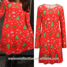 2015 new stylish women christmas dress xmas tree print dress