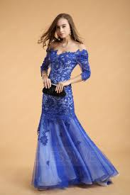 Light Blue Mermaid Dress Classic Mermaid Appliques Beading 3 4 Length Sleeves Sweep Train
