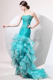 terrific teal blue mermaid quinceanera dress with high low hem 1st