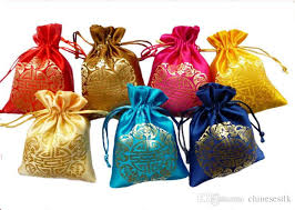 party favor bags cheap small satin fabric gift pouch drawstring china style