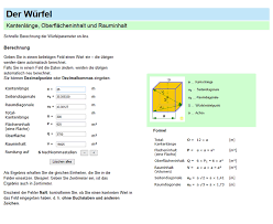 fläche zylinder berechnen würfel umfang fläche volumen formel und berechnung on line