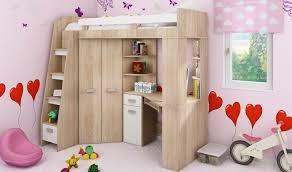 lit enfant mezzanine avec bureau lit combiné en hauteur enfant avec bureau et armoire en bois