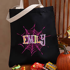 personalized trick or treat bags personalized treat bags spider webs