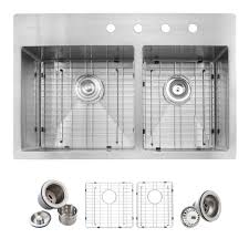 home depot double stainless steel sink glacier bay all in one drop in stainless steel 33 in 4 hole double