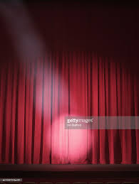 Stage With Curtains Empty Stage With Curtains Closed And Spotlight On Stock Photo