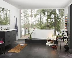 black tile bathroom wallpaper elegant bathroom photo in tampa